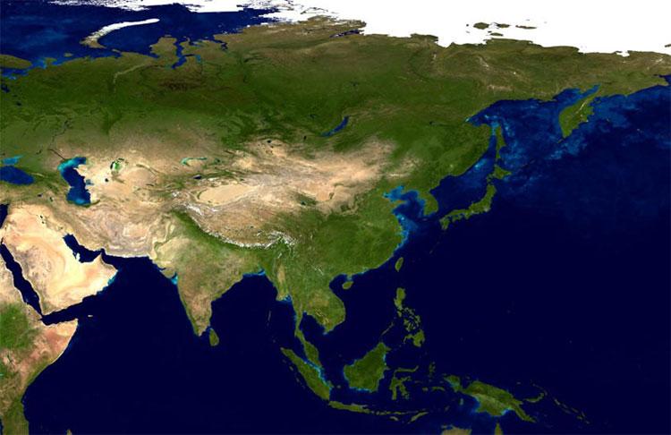 Vue satellite de l'Asie