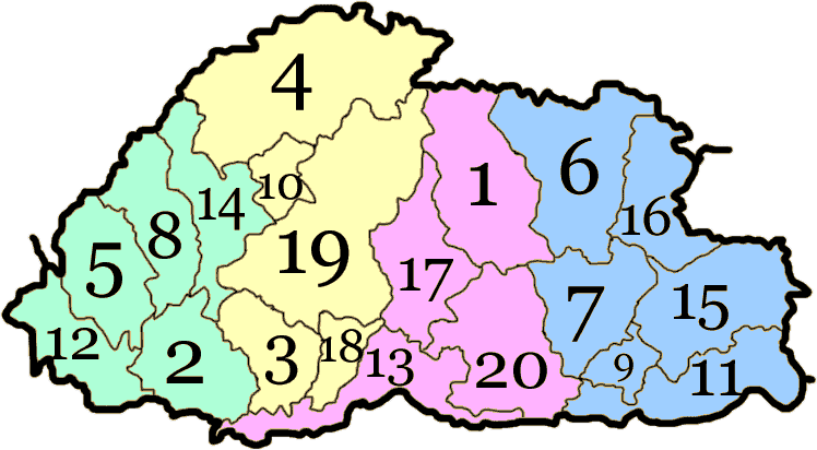 Districts du Bhoutan
