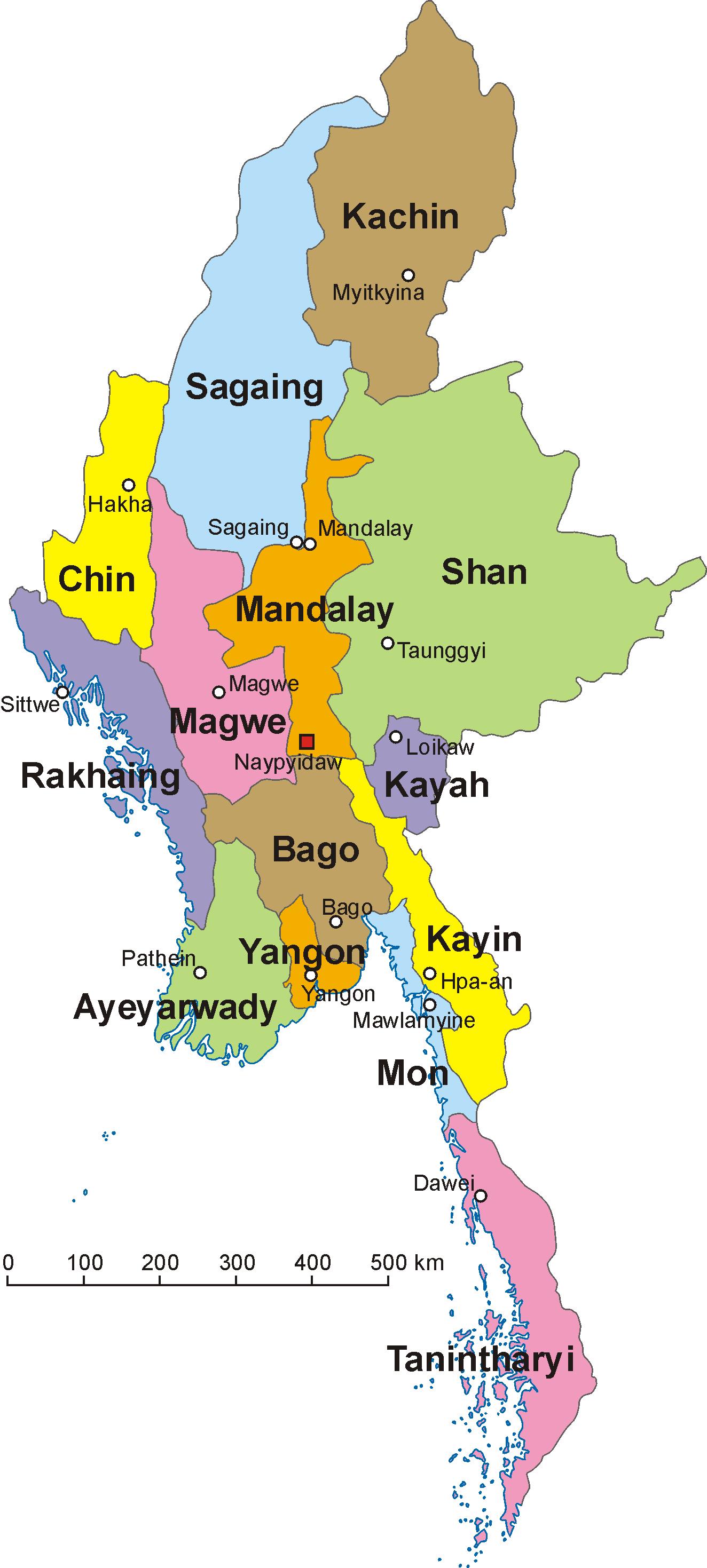 Divisions de la Birmanie