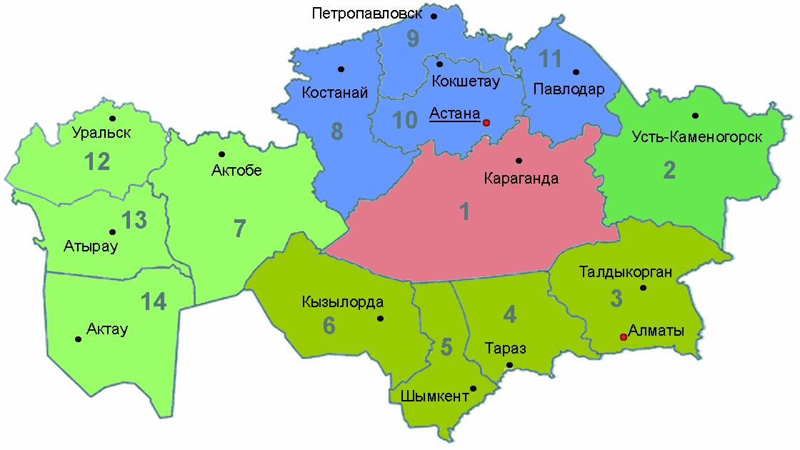 Divisions du Kazakhstan