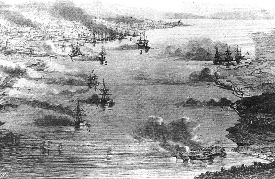 Vue aérienne du bombardement de Kagoshima par la Royal Navy, le 15 août 1863.
