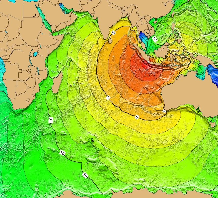 Carte du tsunami provoqué par l'explosion du volcan Krakatoa le 27 août 1883.