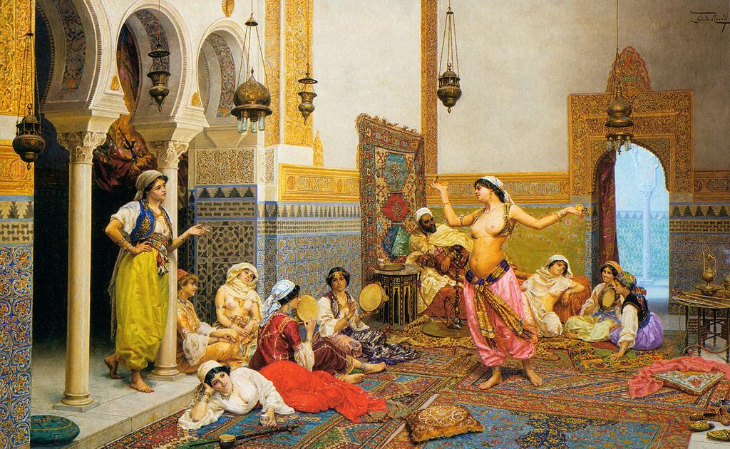 La danse du harem, huile sur toile de Giulio Rosati (1858-1917).
