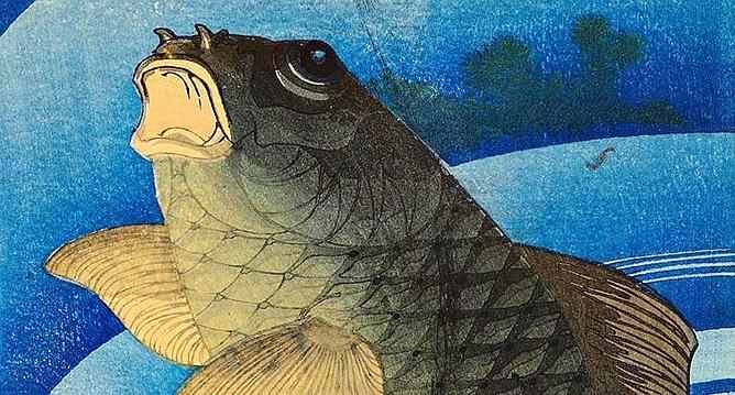 «Carpe» d'Hokusai, vers 1830-1844, gravure sur bois polychrome, 36,4 x 17 cm. (Museum für asiatische kunst/Art research center Ritsumeikan university, Kyoto)
