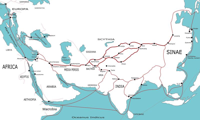 Cette carte en latin indique les principales routes de la soie entre 500 av.J.-C. et 500 ap. J.-C.