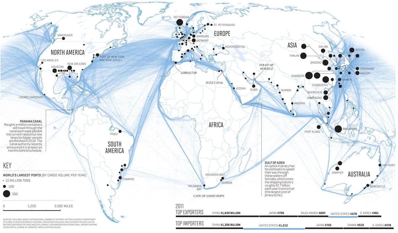 Carte des lignes maritimes