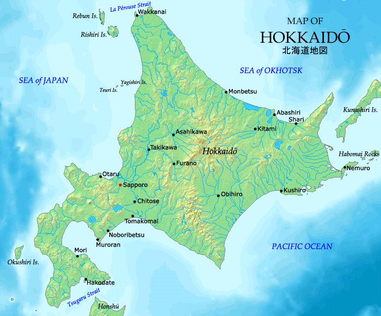 Carte d'Hokkaido