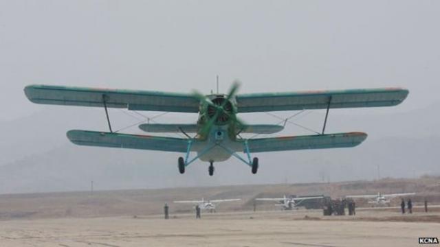 Un avion nord-coréen peut en bleu