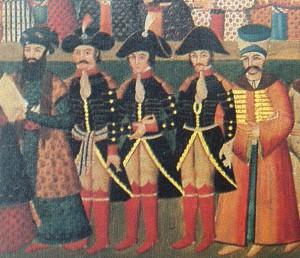 Le général Gardane, avec des collègues Jaubert et Joanin, à la cour perse de Fath Ali Shah en 1808. Les chaussettes rouges étaient un élément du protocole persan.