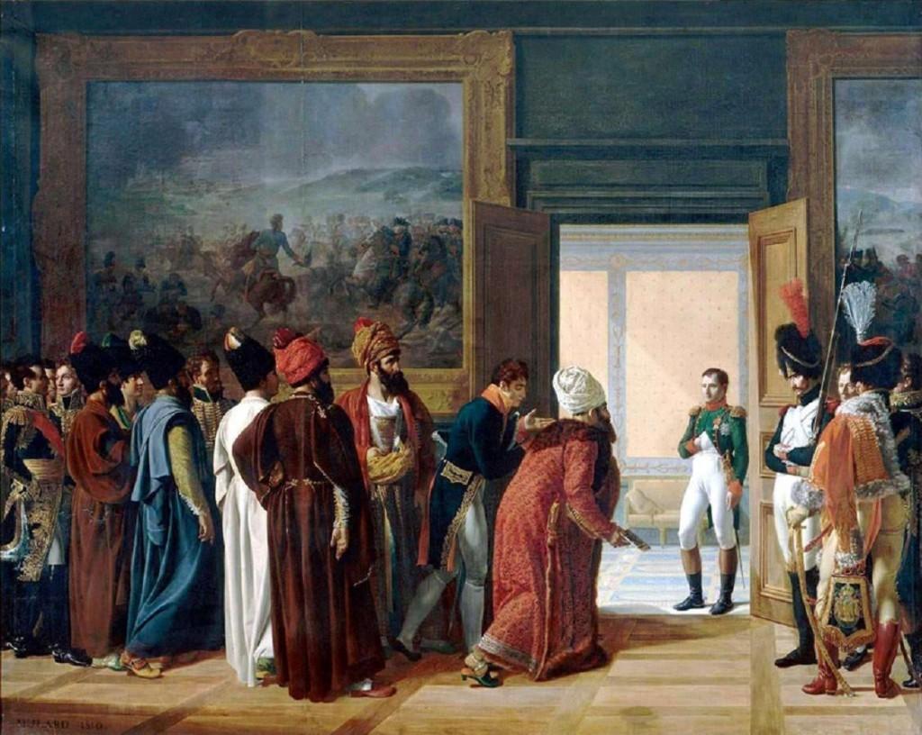 L'envoyé spécial de la Perse, Mirza Mohammed Reza Qazvini, au château de Finkelstein, le 27 avril 1807. Peinture de François Mulard.