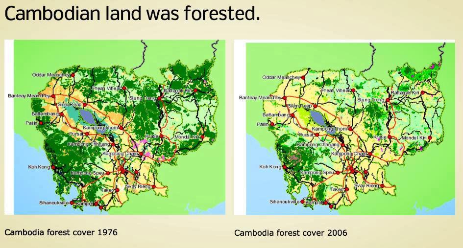 La déforestation au Cambodge en 1976 et 2006