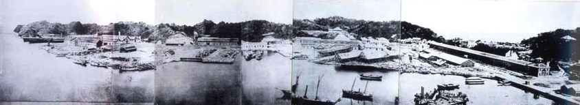 Construction de l'arsenal Yokosuka, vers 1870.