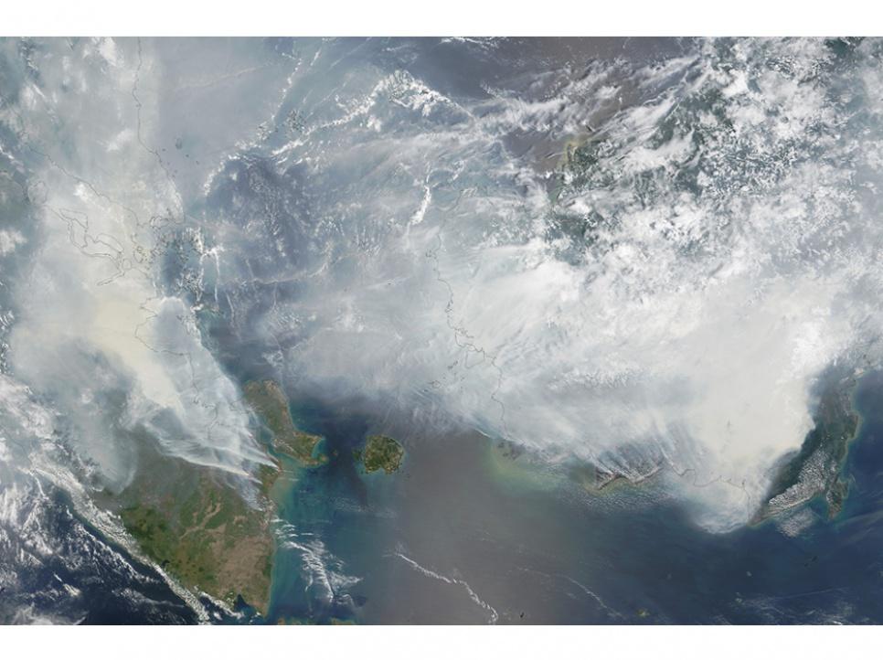 La fumée des incendies de forêt recouvre une bonne partie de l'Indonésie, de la Malaisie et de Singapour, comme le montre cette image prise depuis le satellite Terra de la Nasa, et diffusée par l'agence spatiale américaine le 24 septembre.