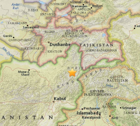 La région où s'est produit le séisme