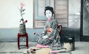 Portrait d'une jeune femme japonaise, probablement une maiko (1907-1919)