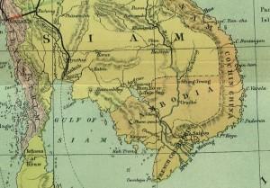La Cochinchine au sud et à l'est du Cambodge (carte anglaise de 1886.)