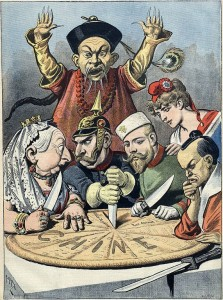 Caricature française célèbre des années 1890. Le gâteau, représentant la «Chine», est divisé entre le Royaume-Uni, l'Allemagne, la Russie et le Japon; la France étant l'arbitre.