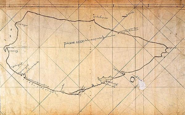 La première carte «correcte» de Taiwan dessinée par un marin néerlandais en 1625 quand Taiwan était sous la domination coloniale hollandaise. Avant l'apparition de cette carte, Taïwan était dessinée sur toutes les cartes comme trois îles séparées.