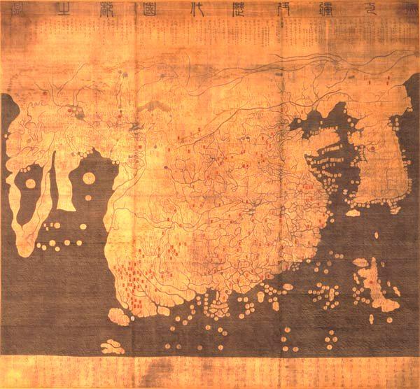 Carte historique des pays et des villes de 1402, dite carte Kangnido2, réalisée d'après des cartes chinoises de 1330 et 1370 et des données persanes.