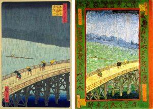 Pont sous la pluie, peintures d'Hiroshige et de van Gogh.