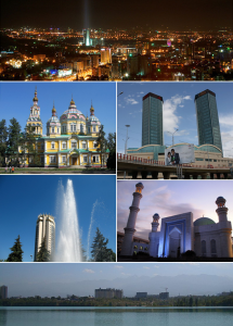 Cathédrale de l'Ascension, l'université technique anglo-kazakh, vue panoramique de la ville, l'opéara Abay, monument du guerrier doré, l'entrée du parc du premier Président et la tour de télévision.