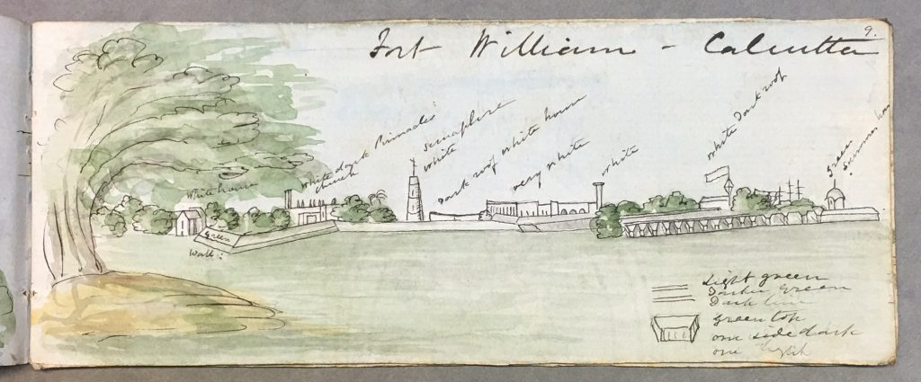 Vue duFort William à Calcutta. Artiste britannique inconnu, vers 1849. British Library, WD 4593, f. 9