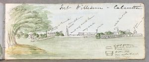 Vue duFort William à Calcutta. Artiste britannique inconnu, vers 1849. British Library, WD 4593, f. 9