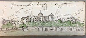Vue de la maison du Gouvernement à Calcutta. Artiste britannique inconnu, vers 1849. British Library WD 4593, f. 7