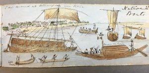 Bateaux indigènes. Artiste britannique anonyme, vers 1849. British Library, WD4593, f. 25. noc