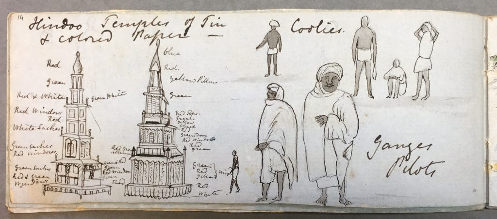 «Hindoo Temples of Tin & Coloured Paper, Coolies, and Ganges Pilots». Artiste britannique anonyme, vers. 1849. British Library, WD4593, f.14