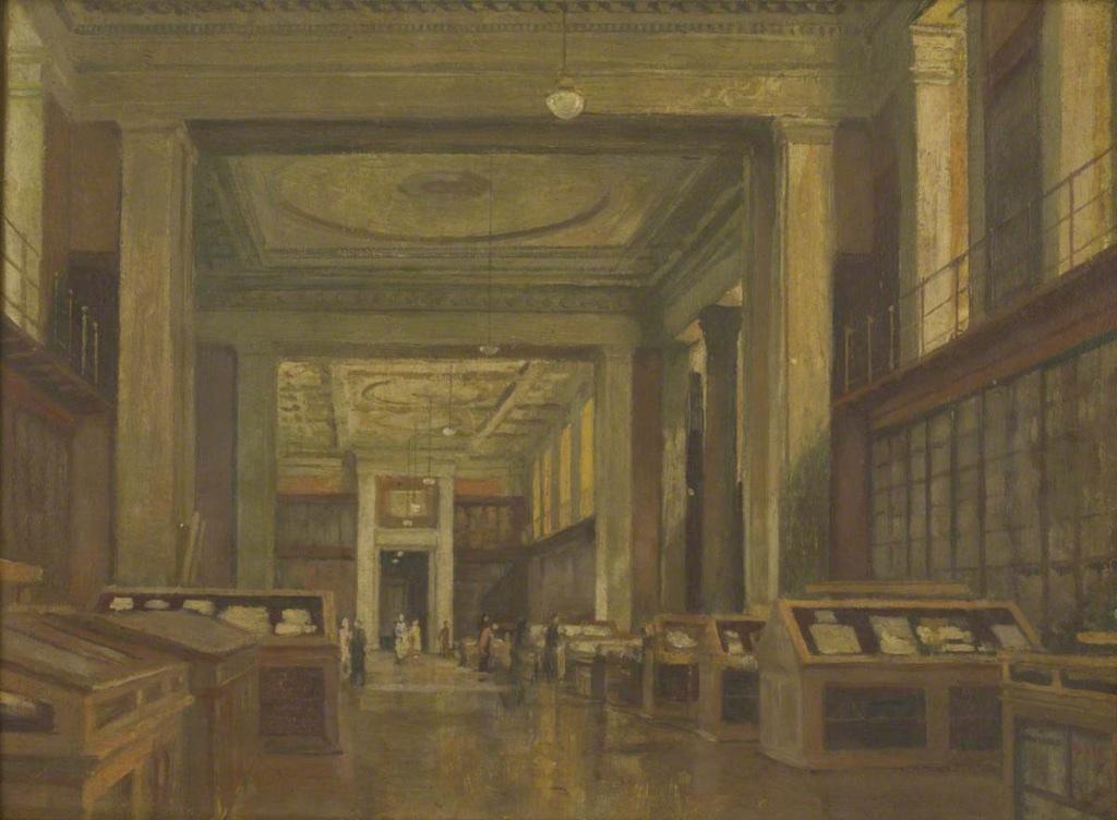 Intérieur de la King's Library, British Museum, par Frederick Hawkesworth s. Shepherd (1877-1948). Les vitrines visibles ont continue d'être utilisées pour les livres et les manuscrits jusqu'aux années 1990, lorsque la British Library a déménagé à St. Pancras.