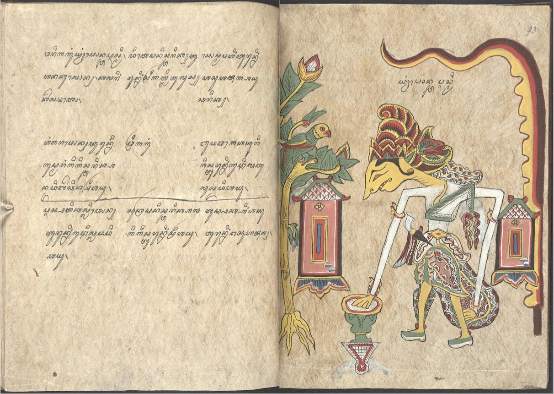 Pawukon, compilation calendaire javanaise avec des illustrations de dieux et de déesses associés à chaque semaine (Wuku), 1807. British Library, Add. 12338, FF. 92V-93R.