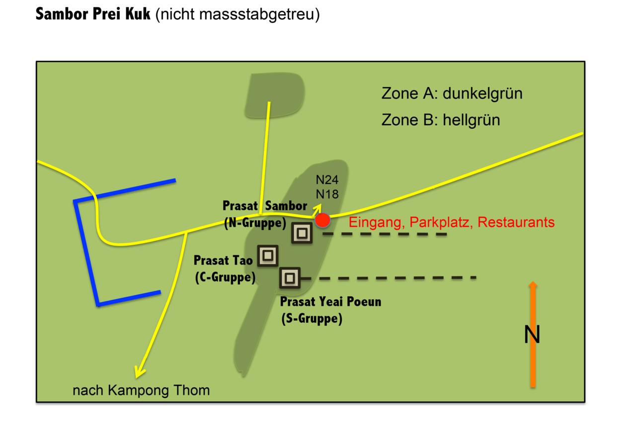 Plan de la zone des temples de Sambor Prei Kuk.