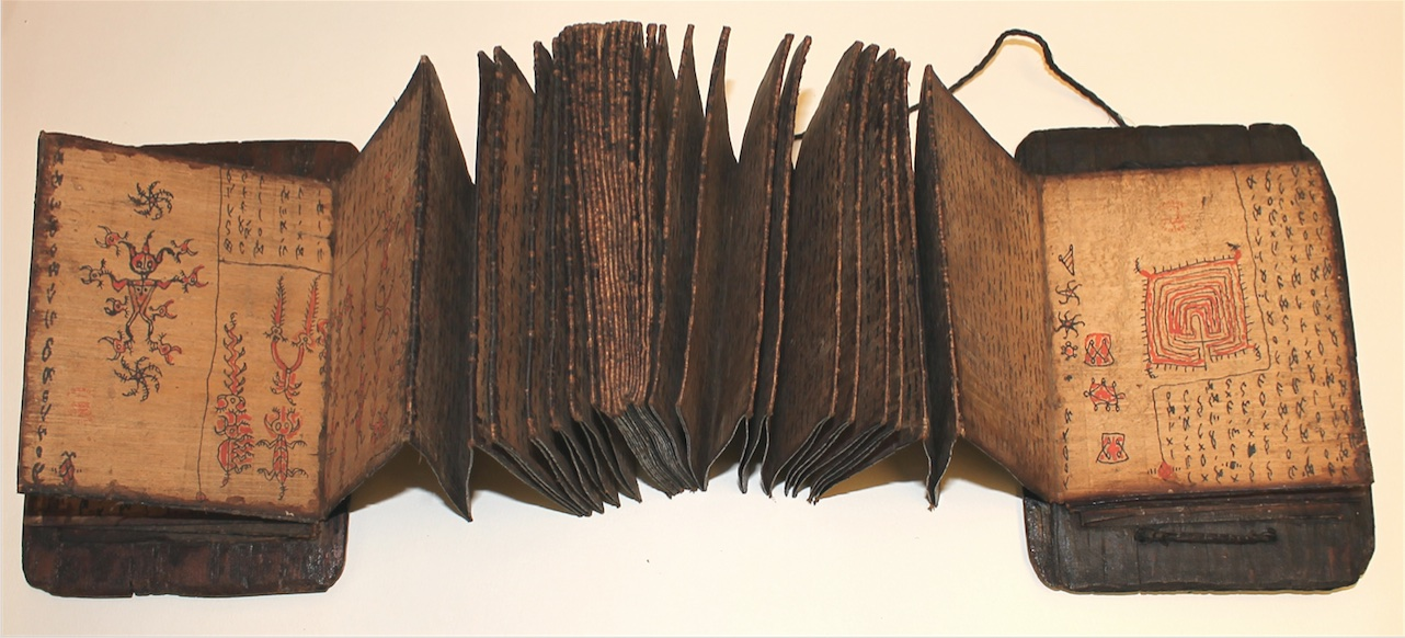 Pustaha à Mandailing-Batak du Nord de Sumatra, contenant des textes ésotériques sur la divination et la protection, sur les bonnes photos d'un labyrinthe et le sceau de Salomon, début XIXe s. British Library, Add. 19381