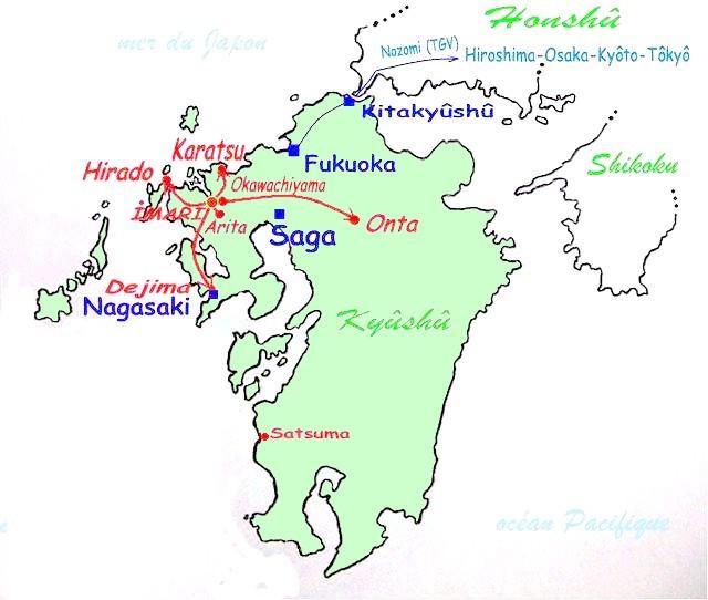 Sites céramiques de l'île de Kyūshū, lieu d'origine de la porcelaine d'Imari.