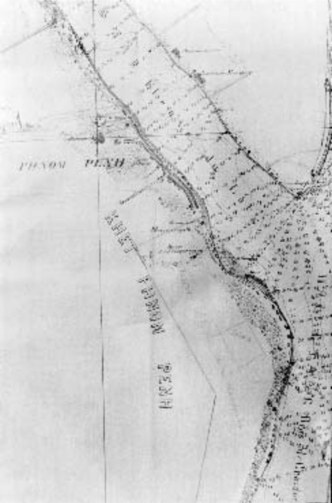Détail du Plan particulier des Quatre Bras de Phnom Penh de 1864.