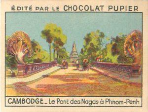 Pont des Nagas. Image de 1938 éditée par Chocolat Pupier.
