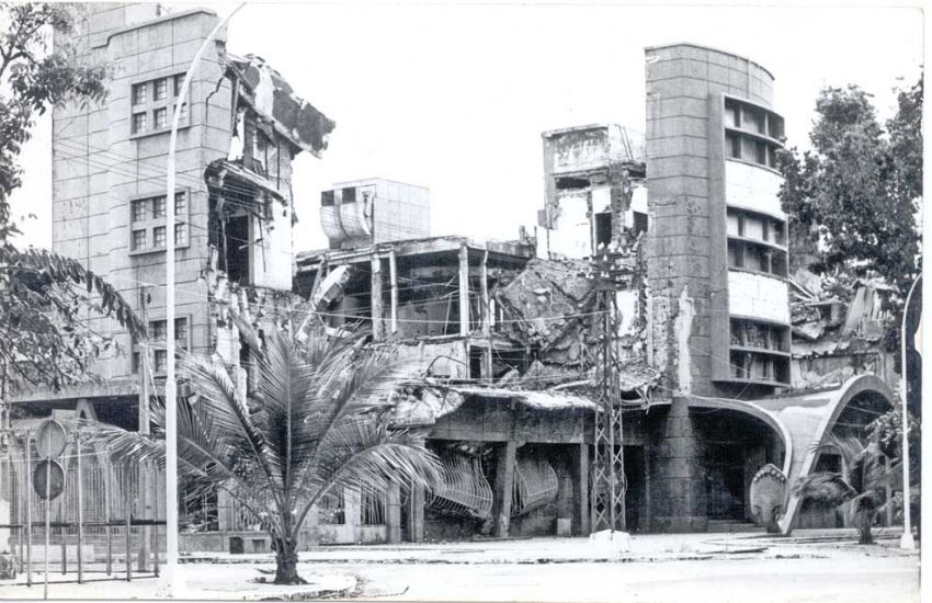 L'ancienne Banque nationale du Cambodge détruite par les Khmers rouges en 1979.