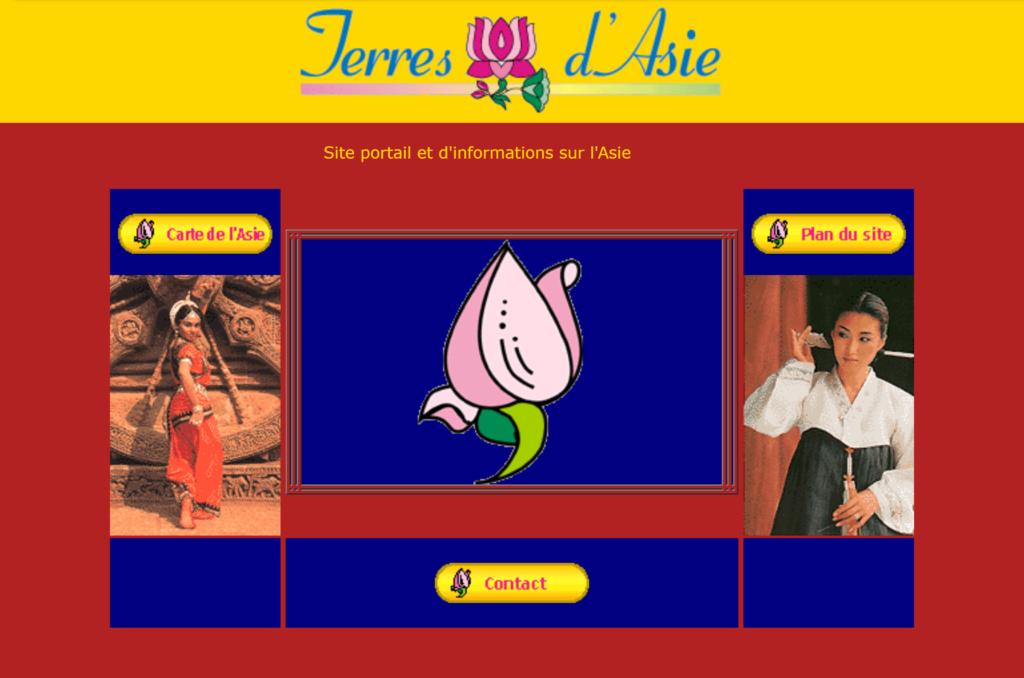 Pages d'accueil de Terres d'Asie en 2003.