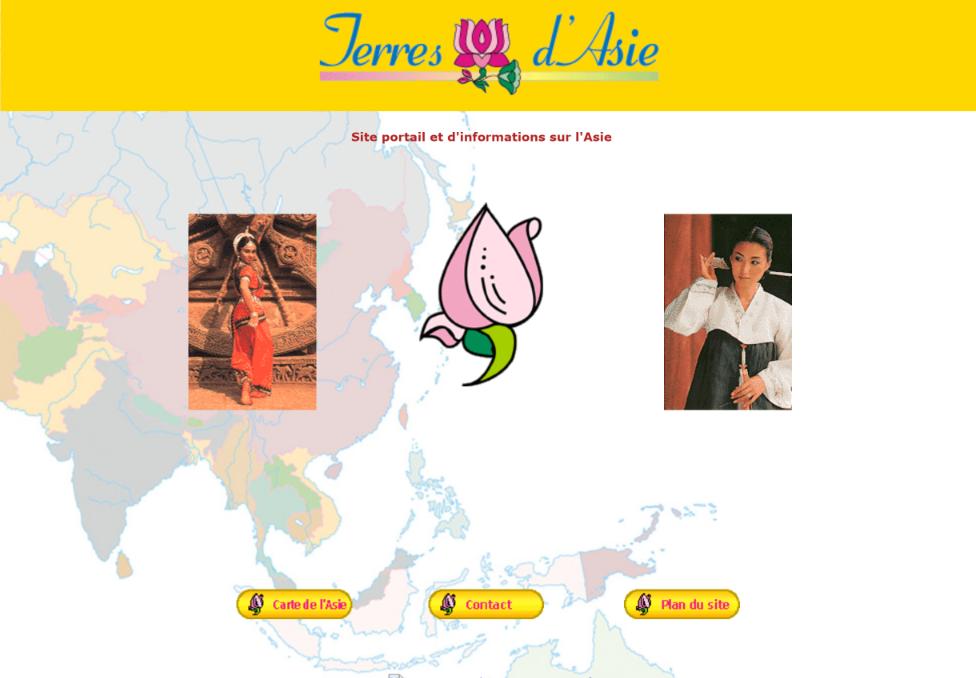 Pages d'accueil de Terres d'Asie en 2006.