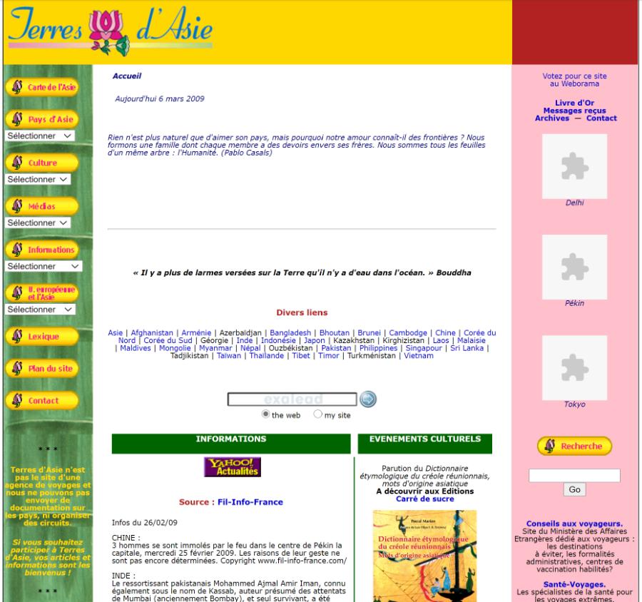 Pages d'accueil de Terres d'Asie en 2009.