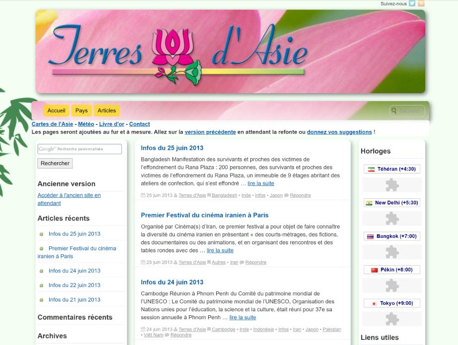 Pages d'accueil de Terres d'Asie en 2013.